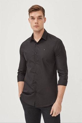 Avva Erkek Siyah Düz Klasik Yaka Slim Fit Gömlek E002002 0