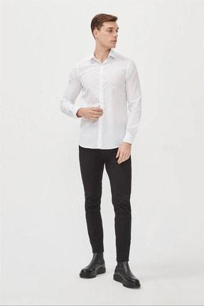 Avva Erkek Beyaz Düz Klasik Yaka Slim Fit Gömlek E002002 3
