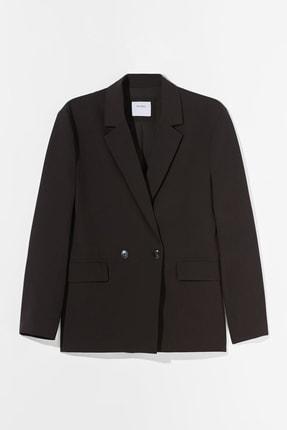 Bershka Kadın Siyah Dökümlü Düğmeli Blazer 4