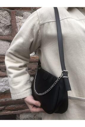 SWAN BOUTIQUE Kadın Siyah Ince Zincirli Baget Çanta 1