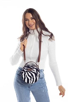 Madamra Aynı Butikte 2.Ürün 1 TL Zebra Desenli Kadın Yuvarlak Omuz Çantası 2