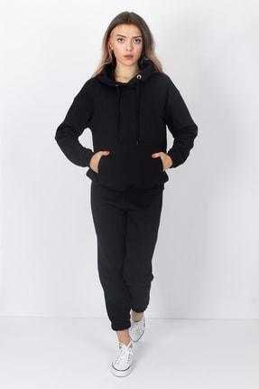 S&B Tekstil Kadın Siyah Paçası Lastikli Eşofman Altı 2