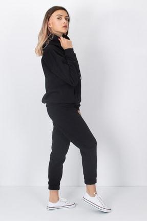 S&B Tekstil Kadın Siyah Paçası Lastikli Eşofman Altı 3