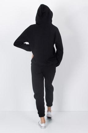 S&B Tekstil Kadın Siyah Paçası Lastikli Eşofman Altı 4