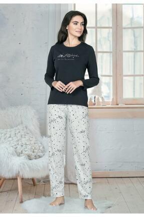 Nbb Kadın Mavi Gezegen Pijama Takımı Pamuk 0