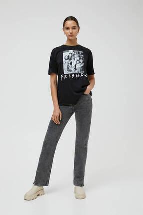 Pull & Bear Siyah Friends Görselli T-shirt 2