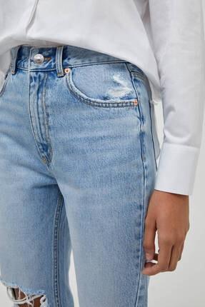 Pull & Bear Kadın Bacakları Distressed Mom Jean 4
