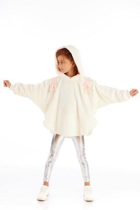تصویر از Kız Çocuk Ekru Peluş Yıldız Patch Detaylı Panço