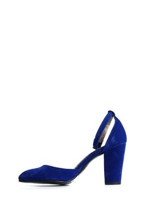 PUNTO Kadın  Mavi Süet Günlük Topuklu Ayakkabı 642437 2