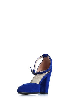 PUNTO Kadın  Mavi Süet Günlük Topuklu Ayakkabı 642437 3
