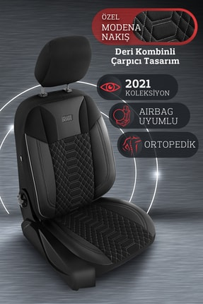 Deluxe Boss Special Oto Koltuk Kılıfı - Modena Serisi - Siyah Renk Füme Nakış 4