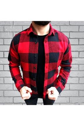 Ydn giyim Erkek Cepsiz Kırmızı Siyah Kareli Oduncu Gömleği 0