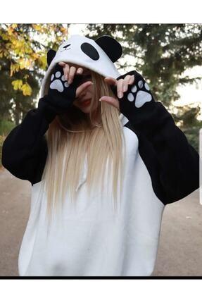 arer butik Kadın Siyah Panda Sweatshirt 0