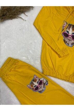 nacar çarşı Kız Çocuk Kedili Pijama Takım 3
