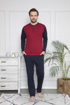 Giyinsende Pamuklu Penye Uzun Kol 3 Düğmeli Erkek Pijama Takımı Bordo 0