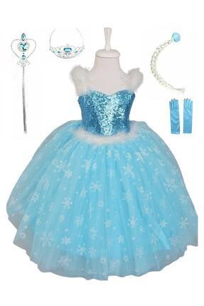damdikids Kız Çocuk  Saç Taç Asa Askılı Tarlatanlı  Elsa Kostümü 0