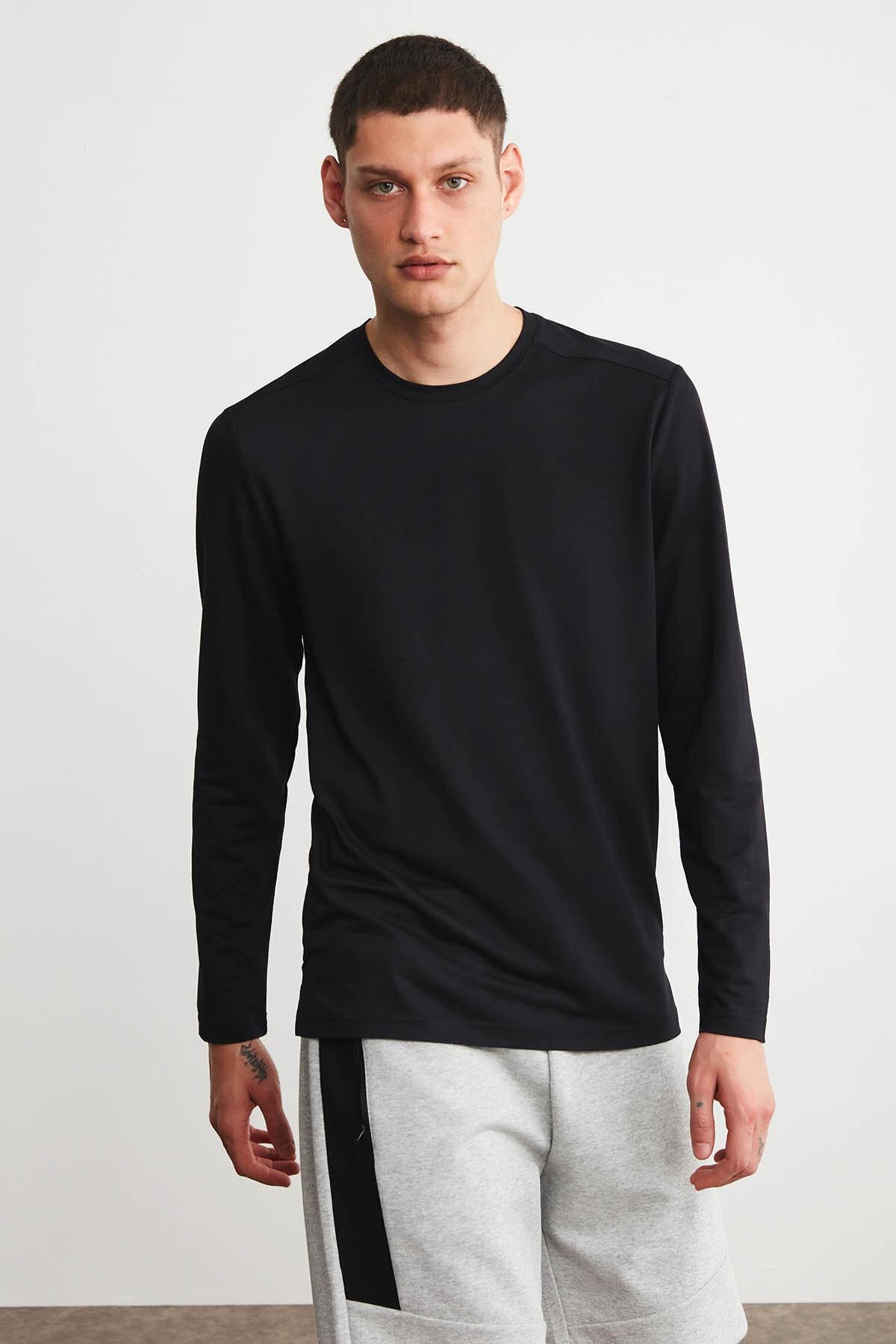 HUMMER Erkek Siyah Uzun Kollu Spor T-shirt