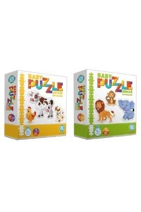 Circle Toys Baby Puzzle Çiftlik Orman 2'li Set 0