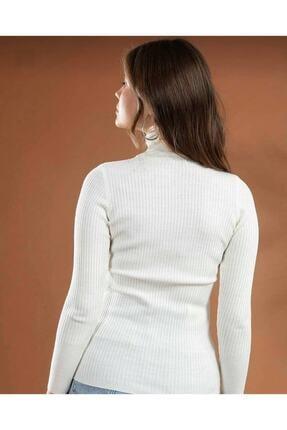 ÇİÇEK BUTİK Kadın Beyaz Triko Boğazlı Kazak 1