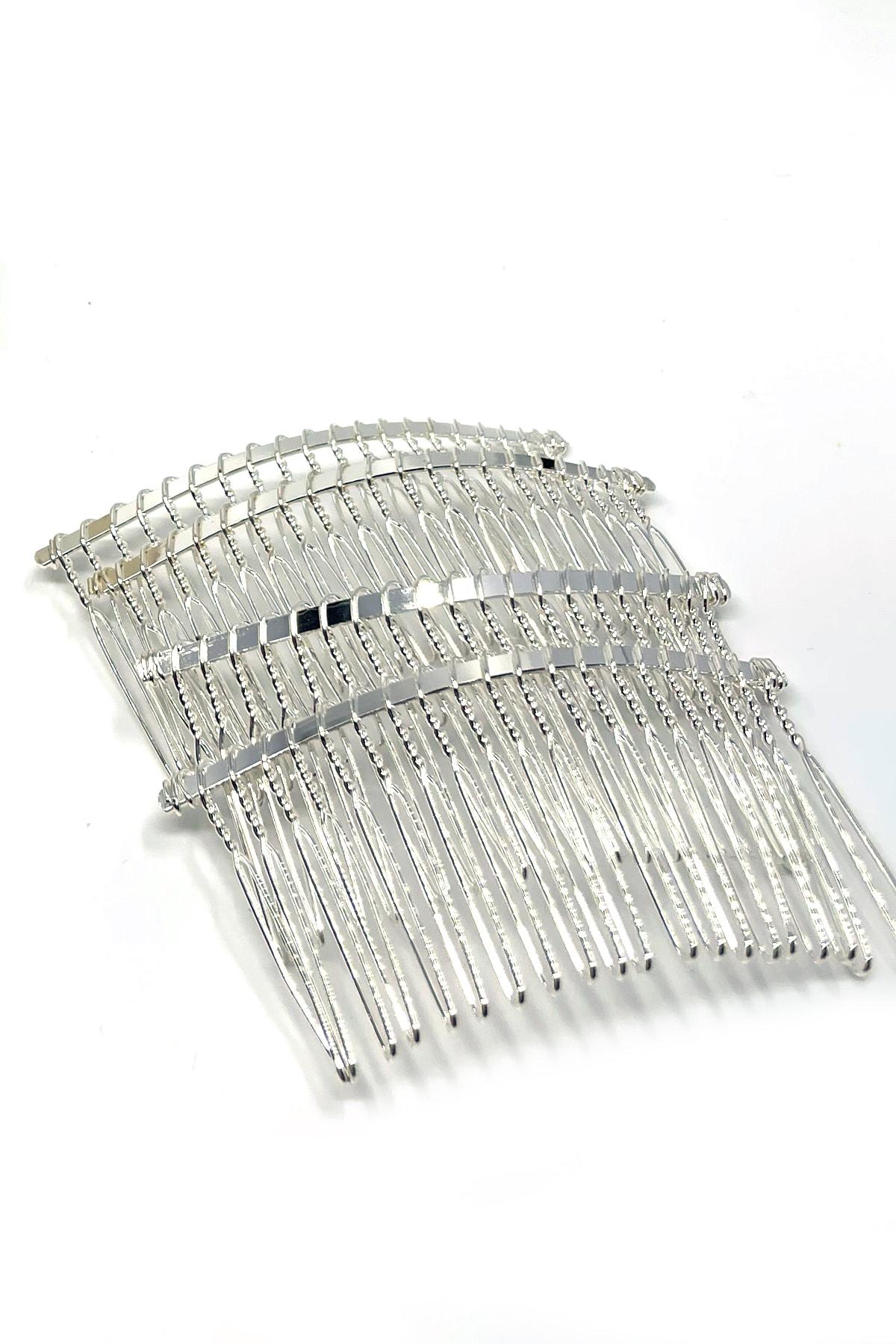 20 Dişli Metal Tarak Toka Gümüş Renk 5 Adet
