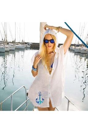 Çapa Kapüşonlu Plaj Elbisesi BGD32261901012-1