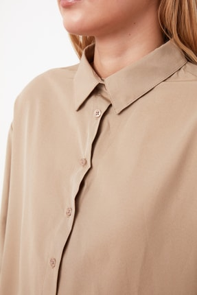 TRENDYOLMİLLA Vizon Loose Fit Gömlek TWOAW20GO0107 4