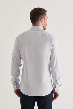 Avva Erkek Gri Düz Düğmeli Yaka Regular Fit Gömlek A11y2026 3