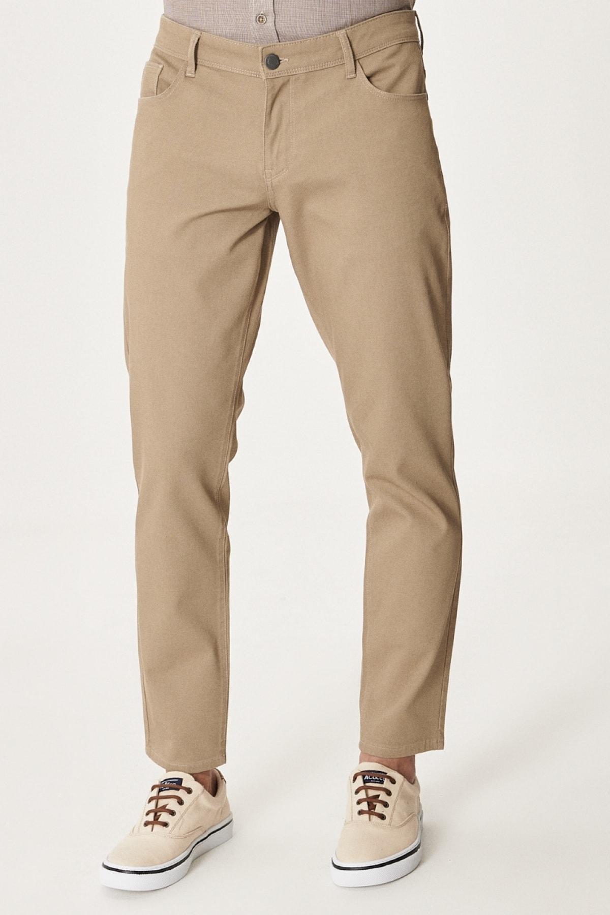 Erkek Vizon Kanvas Slim Fit Dar Kesim 5 Cep Pantolon