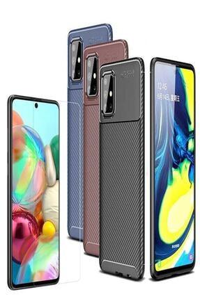 Zore Samsung Galaxy M31s Negro Karbon Darbe Önleyici Kılıf + Nano Cam Ekran Koruyucu 3