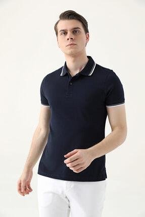 D'S Damat Erkek Lacivert Slim Fit Pike Dokulu T-Shirt 1
