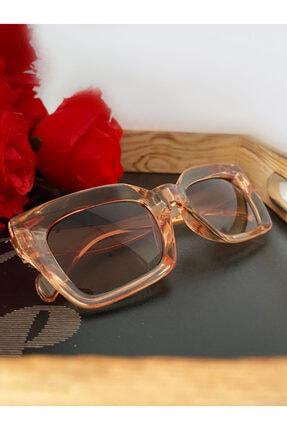 Mathilda Aksesuar Mia Kalın Çerçeveli Tasarım Gözlük Bal Çerçeve Kahve Cam 4