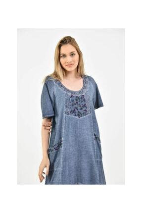 S & S Home and Life Kadın Mavi Yıkamalı Otantik Yazlık Elbise 1