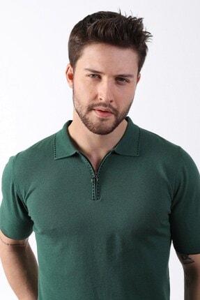 Ferraro Erkek Yeşil Polo Yaka Fermuarlı Pamuk Triko T-shirt 3