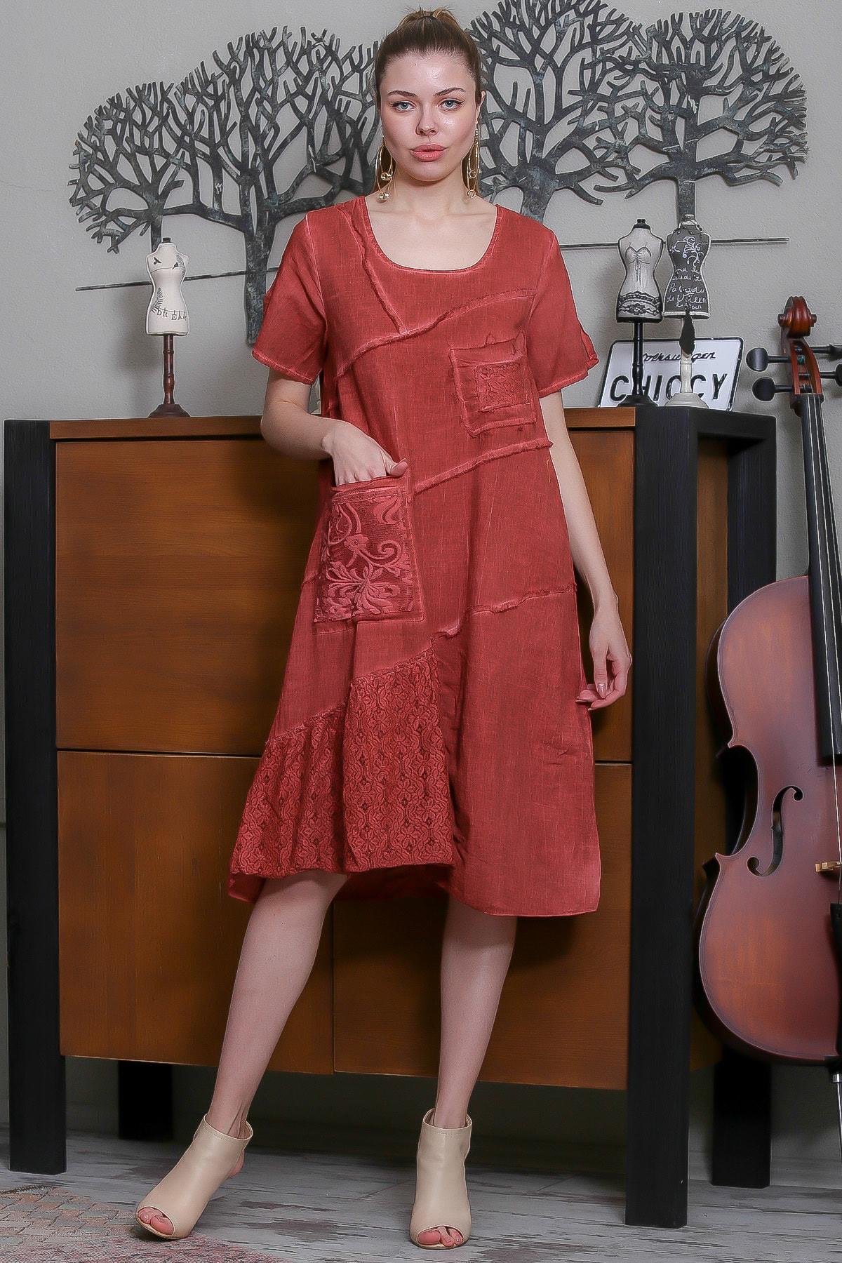Chiccy Kadın Kiremit Sıfır Yaka Dantel Bloklu Cepli Astarlı Yıkamalı Elbise M10160000EL95294 1