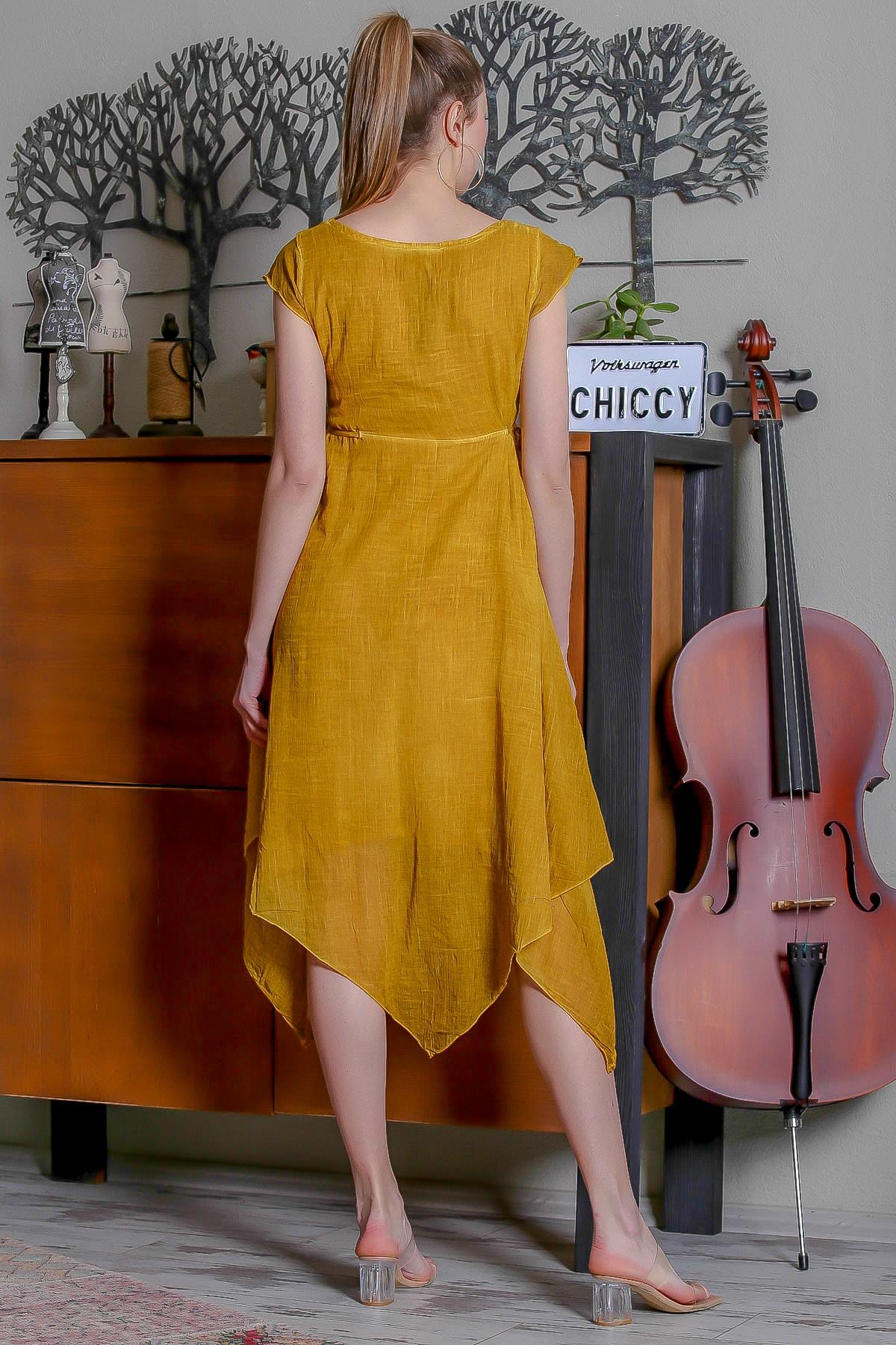 Chiccy Kadın Hardal Kare Yaka Düğme Detaylı Yanı Bağlamalı Asimetrik Yıkamalı Elbise M10160000EL95344 4