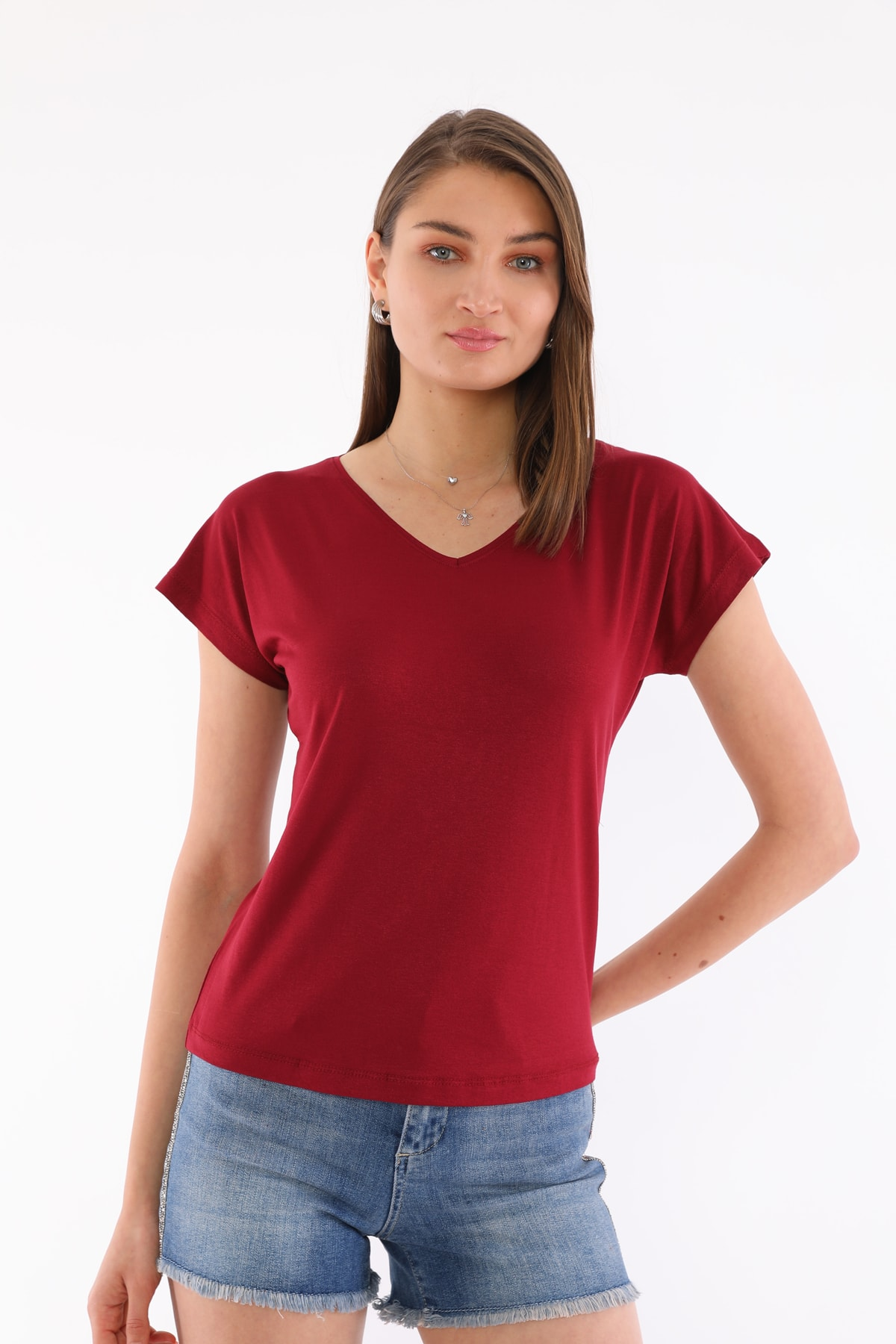 Kadın Bordo V Yaka T-shirt