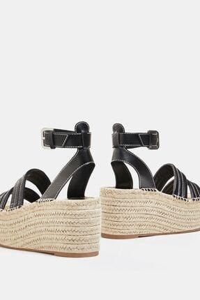 Bershka Dikiş Detaylı Hasır Platform Sandalet 3