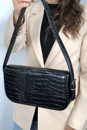 LinaConcept Kadın Siyah Kroko Kapaklı Baget Çanta 3