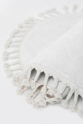 Dijidekor Beyaz Yuvarlak Post Dokuma Halı Saçaklı Peluş Halı Antibakteriyel 110x110 2