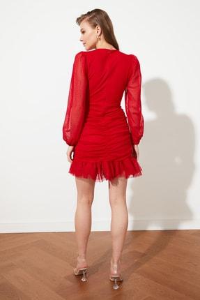 TRENDYOLMİLLA Kırmızı Drape Detaylı  Elbise TPRSS20EL0317 3