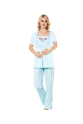 BOYRAZ Hamile Pijama Takımı Emzirmeli Kısa Kol Mavi Takım 7102 0