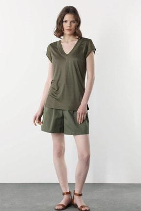 Kadın Haki V Yaka T-shirt 1078479