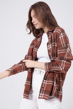 Pattaya Kadın Kiremit Boyfriend Kareli Oduncu Gömlek P20W-3325 2
