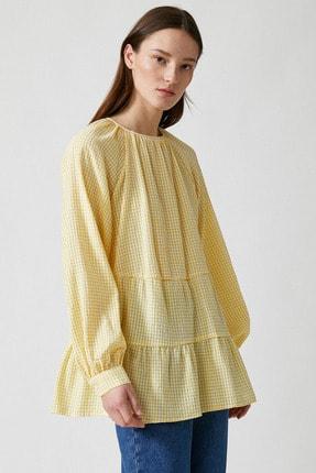 Koton Kadın Sarı Ekoseli Bluz 1YAK68815CW 1