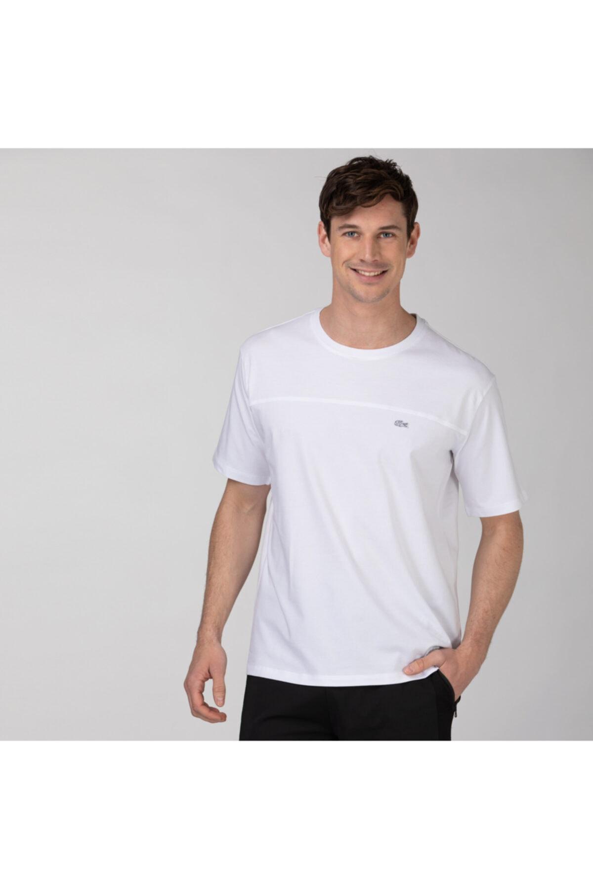 Erkek Rahat Fit Bisiklet Yaka Baskılı Beyaz T-Shirt TH0142