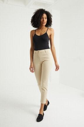 BOSHETTI Krem Yüksek Bel Mom Comfort Slim Fit Jeans 0