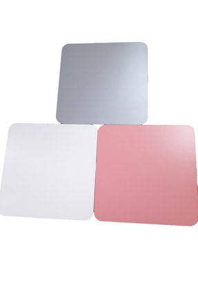 interGO Renkli Üçlü Zigon Sehpa Ahşap Ayaklı Kare Tasarım Pastel Renkler Pembe Beyaz Gri 1