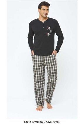 20419 Erkek 2 Iplik Pijama Takımı Siyah resmi