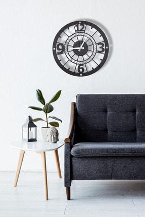 DFA DEKORATİF Dekoratif Metal Duvar Saati Siyah Büyük Boy 48 X 48 Cm 1