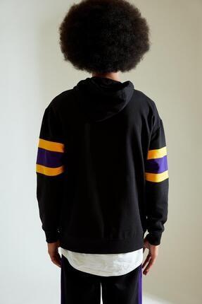 Defacto Erkek Siyah Nba Lisanslı Oversize Fit Kapüşonlu Sweatshirt 3